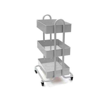 28 in. x 17.50 in. x 11.50 in. 3-Tier Metal Mobile Utility Cart in Silver