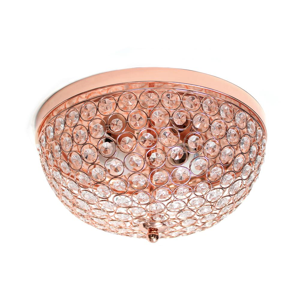 Elegant Designs 2 Light Rose Gold Elipse Crystal Flush Mount Ceiling Light Fm1000 Rgd The Home Depot