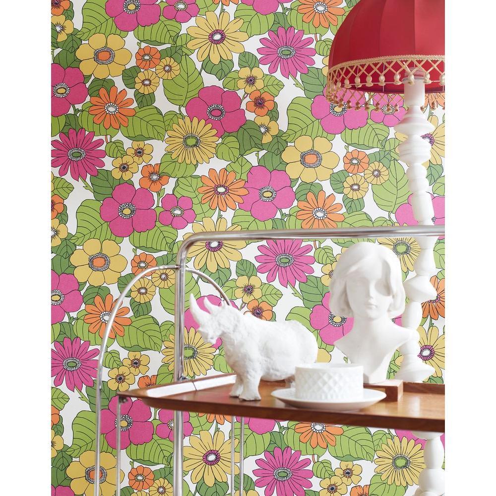 Capriana Pink Floral Burst Wallpaper Sample