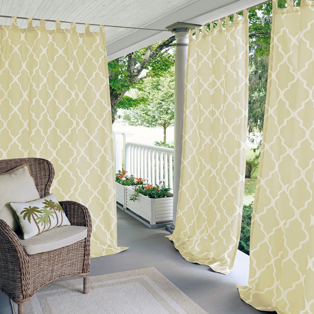 Corado 50 in. W x 95 in. L Indoor/Outdoor Tab Top Window Curtain Ivory