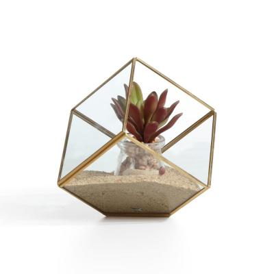 9 in. Yellow and Gold Cube Brass and Clear Glass Terrarium Decorative Vase