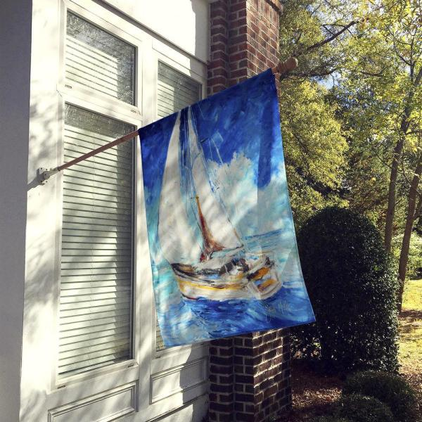 Caroline S Treasures 28 In X 40 In Polyester Sailboats In Blue Flag Canvas House Size 2 Sided Heavyweight Jmk1153chf The Home Depot