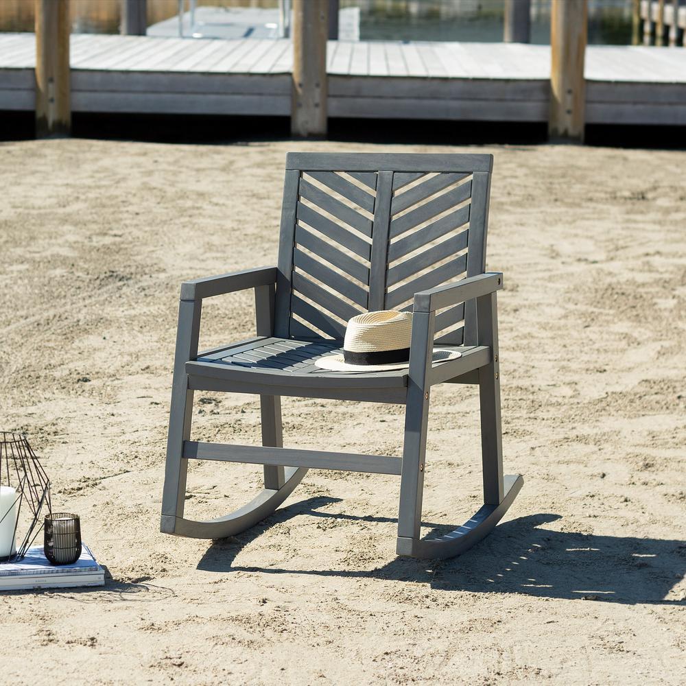 Grey Wash Chevron Outdoor Acacia Wood Rocking Chair
