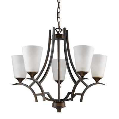 Zoey Indoor 5-Light Oil Rubbed Bronze Chandelier with Glass Shades