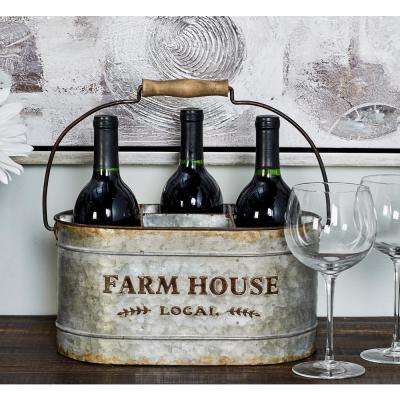 Distressed Silver Iron 6-Bottle Oval Wine Caddy