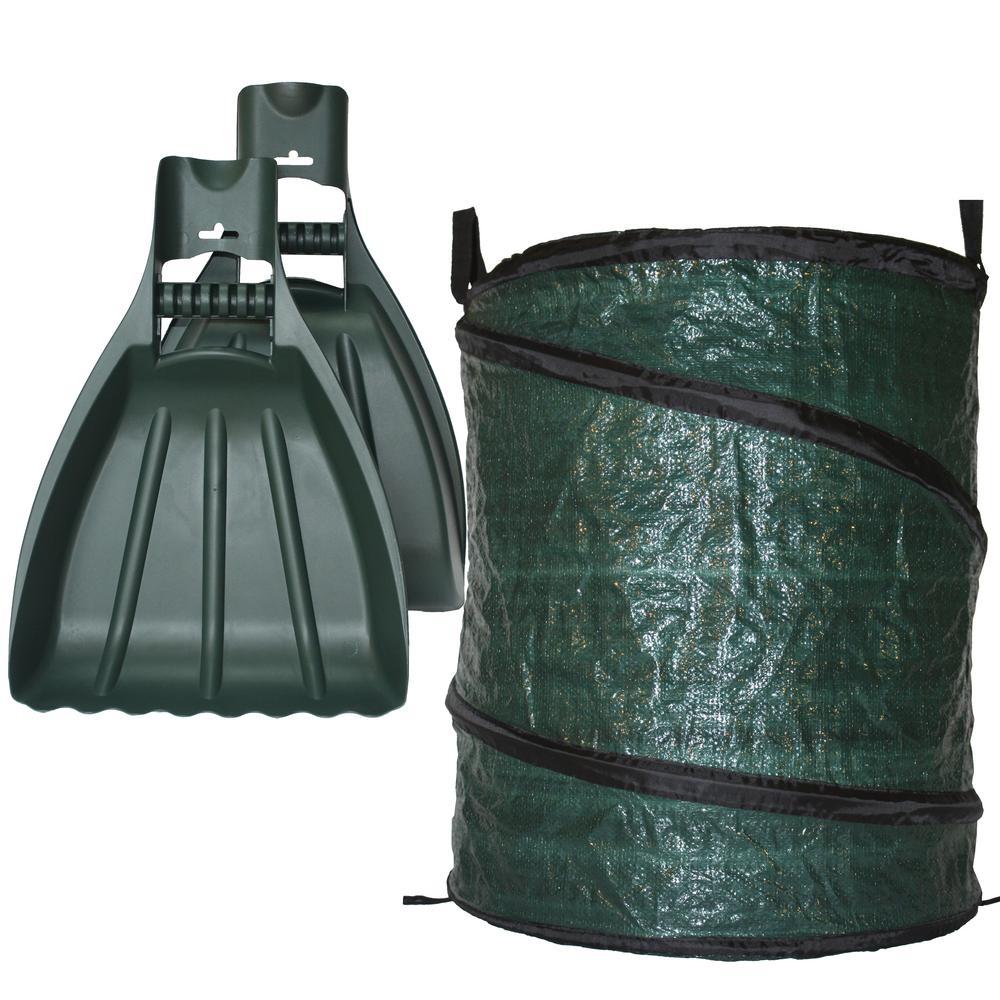 30 Gal Reusable Pop Up Yard Bag Plus Xl Leaf Claws Hand