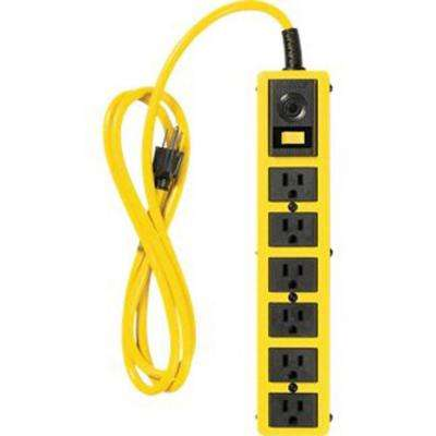 6 ft. 6-Outlet Metal Heavy-Duty Power Strip with On/Off Switch