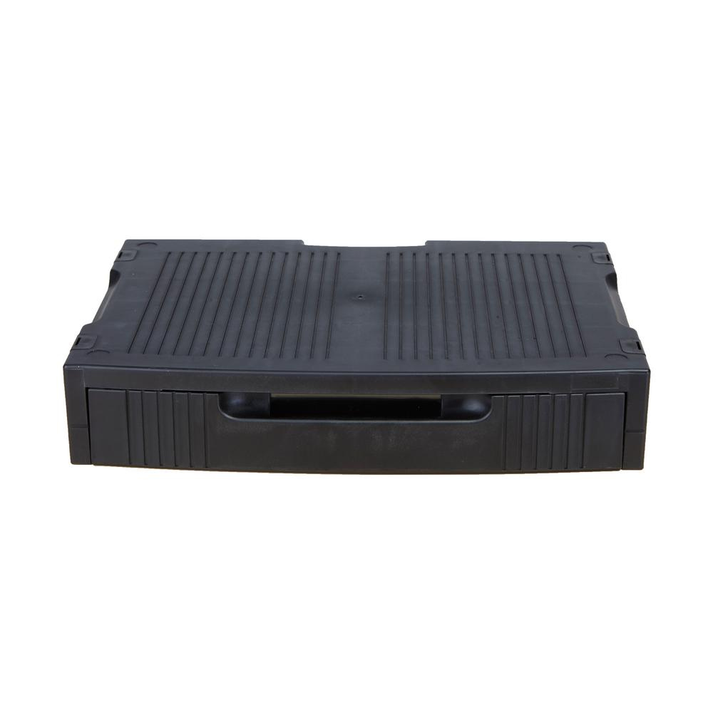 Plastic Monitor Stand with Storage Drawer, Black