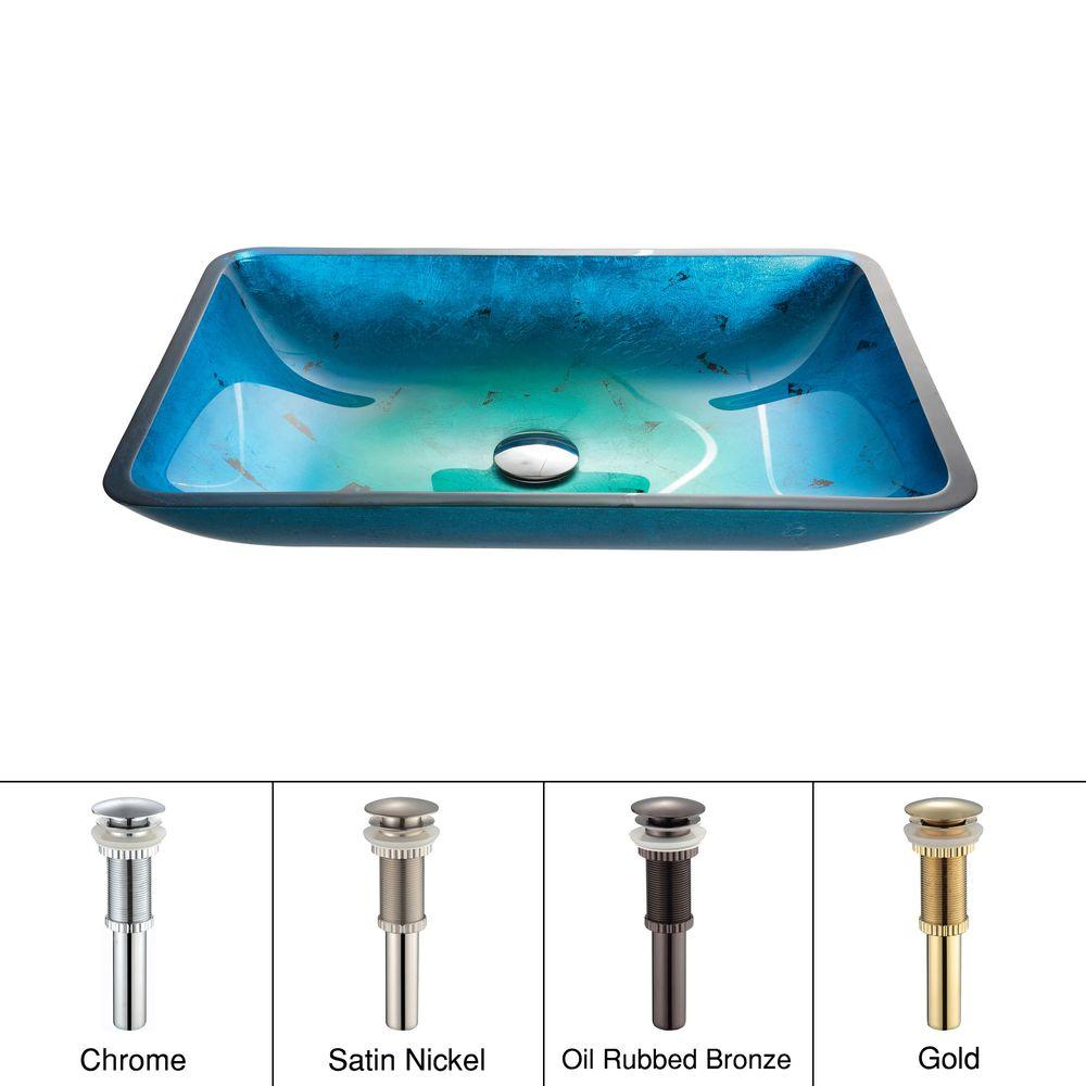 KRAUS Irruption Rectangular Glass Vessel Sink in Blue with Pop-Up Drain in Chrome