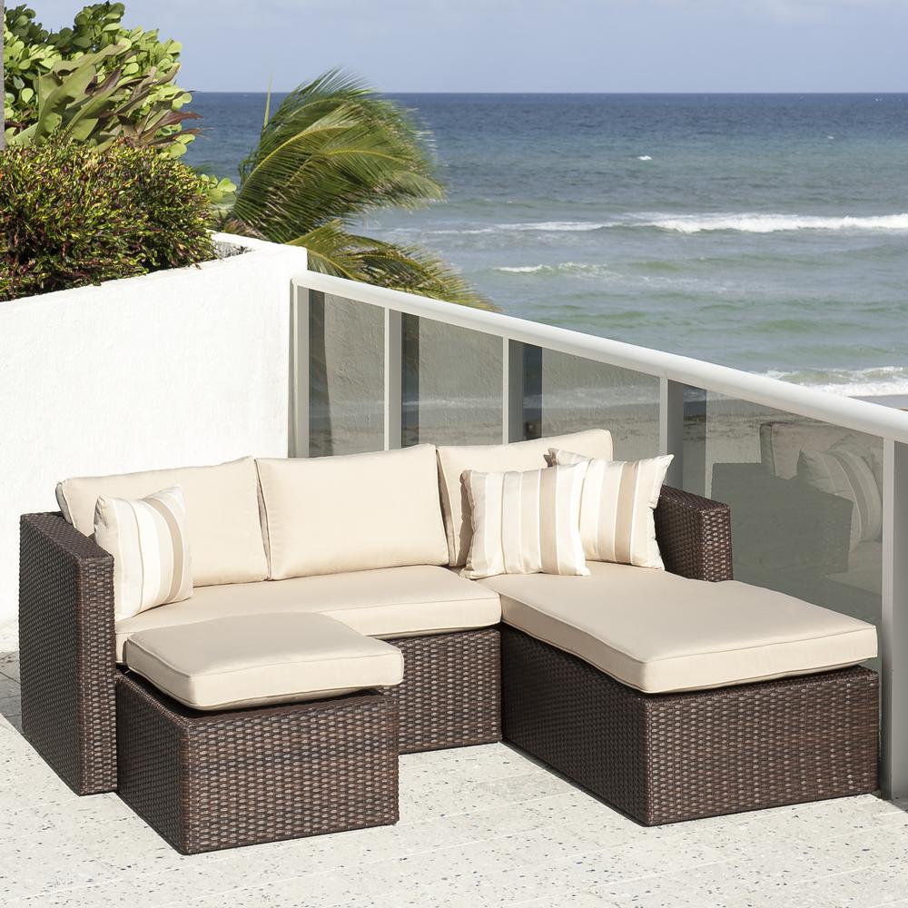 Atlantic Allen Brown 3 Piece Wicker Outdoor Sectional Set With Sunbrella  Cushions