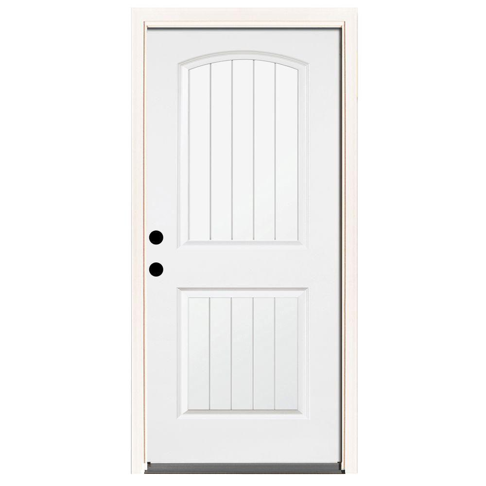 Steves & Sons 36 in. x 80 in. Premium 2-Panel Plank Primed White Steel Prehung Front Door with 36 in. Right-Hand Inswing & 6 in. Wall