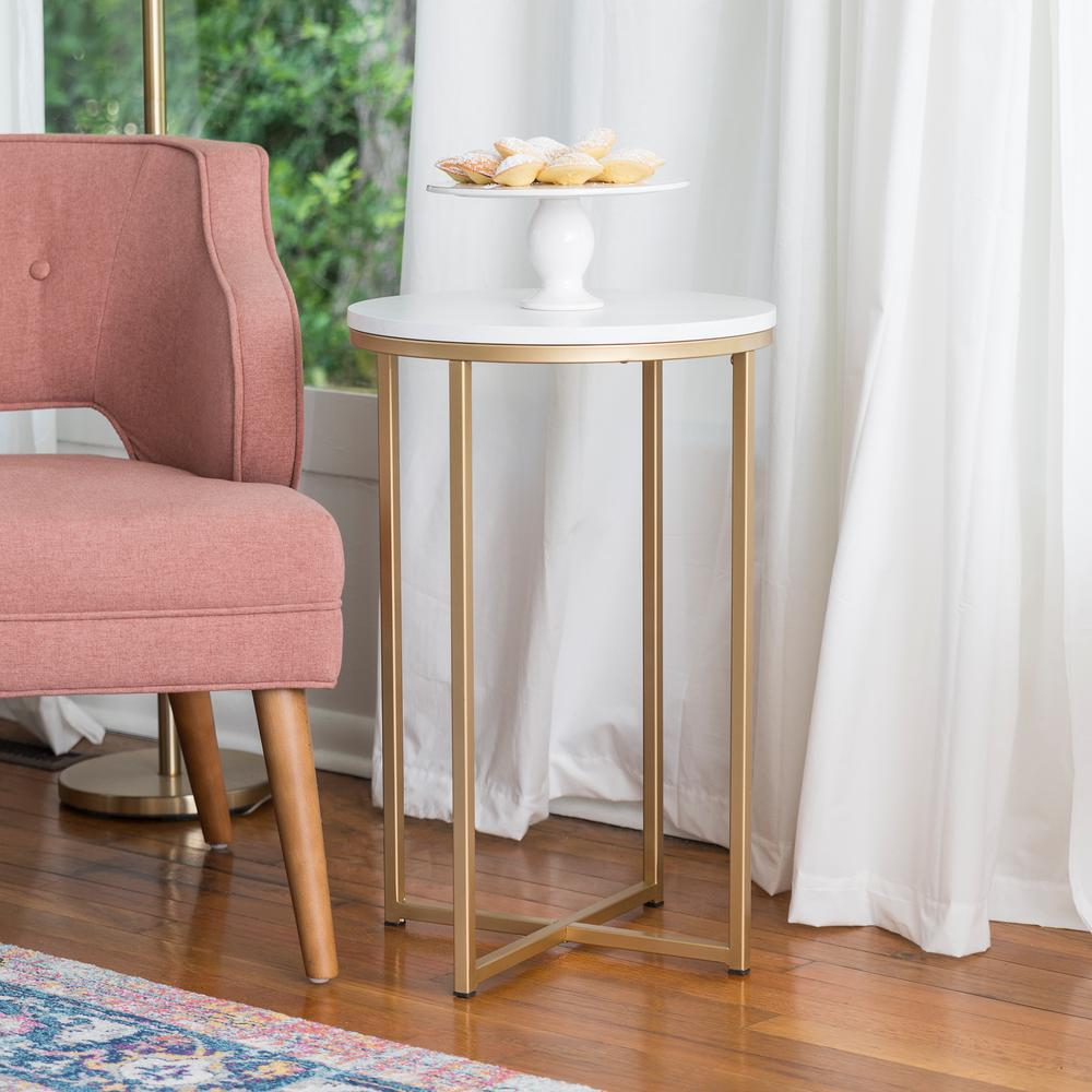 Walker Edison Furniture pany 16 in Marble Gold Round Side