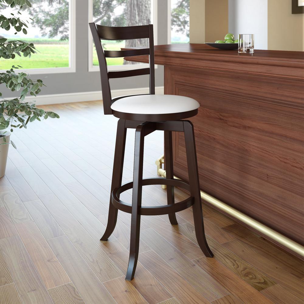corliving woodgrove 29 in wood swivel barstools with white rh homedepot com white wooden bar stools nz white wooden bar stools brisbane