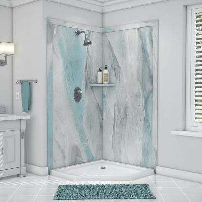 Splendor 40 in. x 40 in. x 80 in. 7-Piece Easy Up Adhesive Corner Shower Wall Surround in Triton
