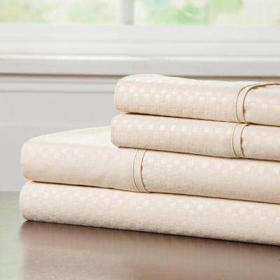 Embossed 4-Piece Champagne 90 GSM Microfiber Queen Sheet Set