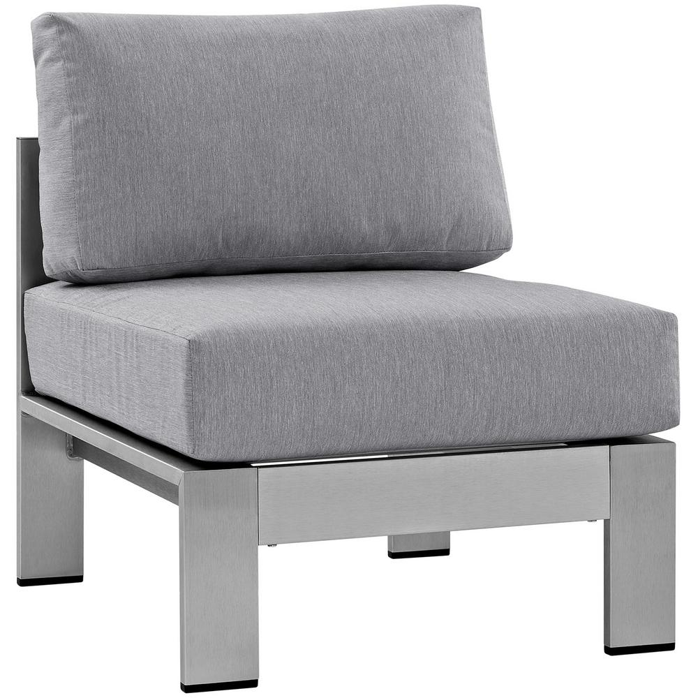 Modway shore armless patio aluminum outdoor lounge chair in silver with gray cushions