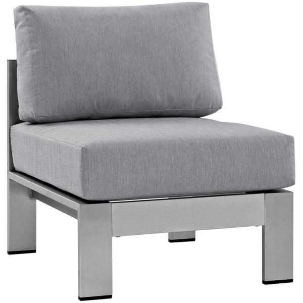Shore Armless Patio Aluminum Outdoor Lounge Chair in Silver with Gray Cushions