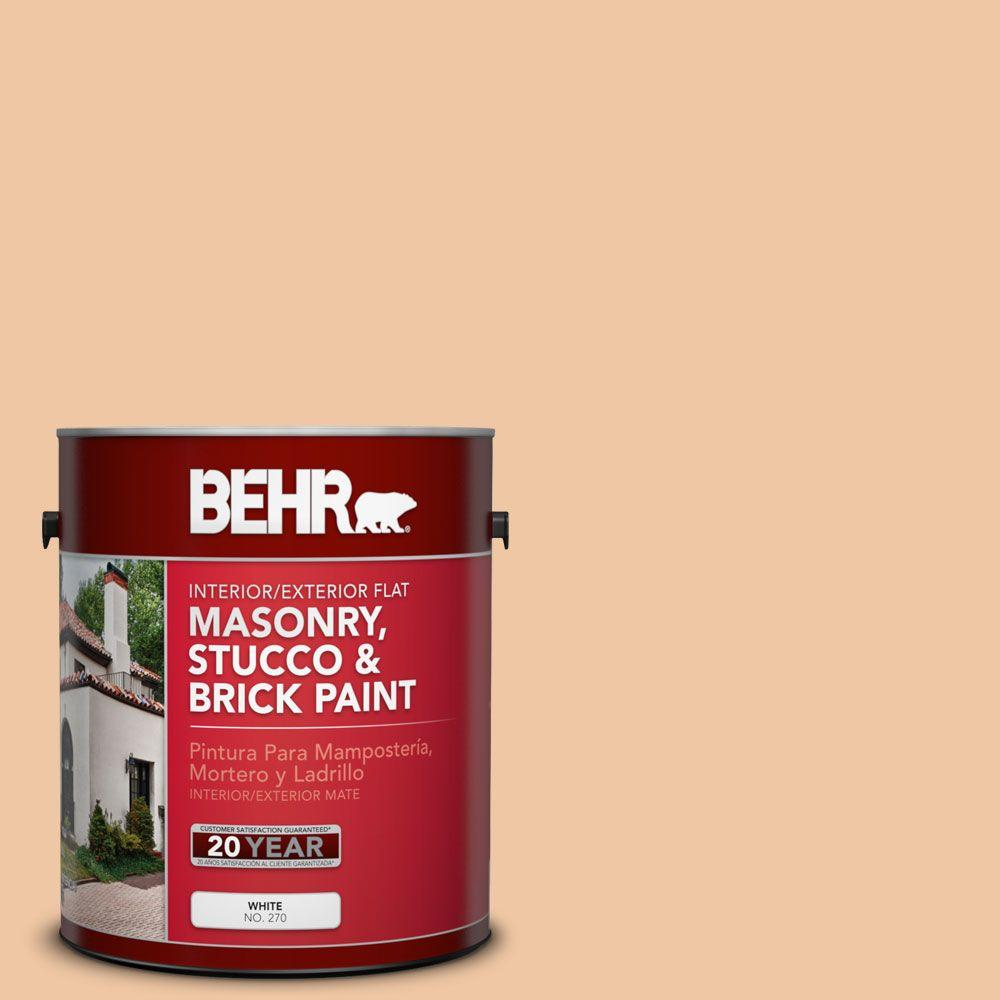 1 gal. #MS-15 California Peach Flat Interior/Exterior Masonry, Stucco and Brick