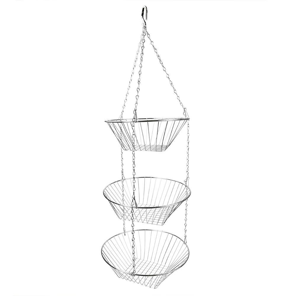 Home Basics Fruit Basket in Silver HB00099