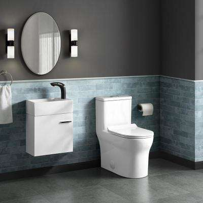 Burdon 1-Piece 0.8/1.28 GPF Dual Flush Square Toilet in White, Seat Included