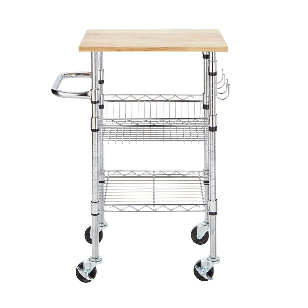 small kitchen island cart chrome wood top rolling cutting board organizer hooks ebay. Black Bedroom Furniture Sets. Home Design Ideas