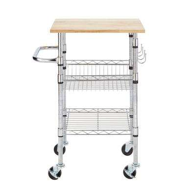 Gatefield Chrome Small Kitchen Cart with Rubber Wood Top