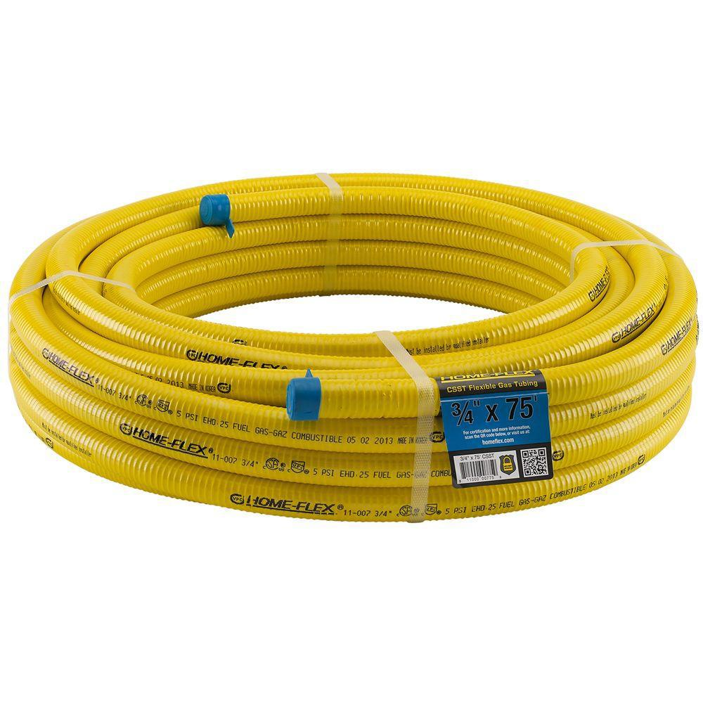 HOMEFLEX HOME-FLEX 3/4 in. CSST x 75 ft. Corrugated Stainless Steel Tubing, Yellow