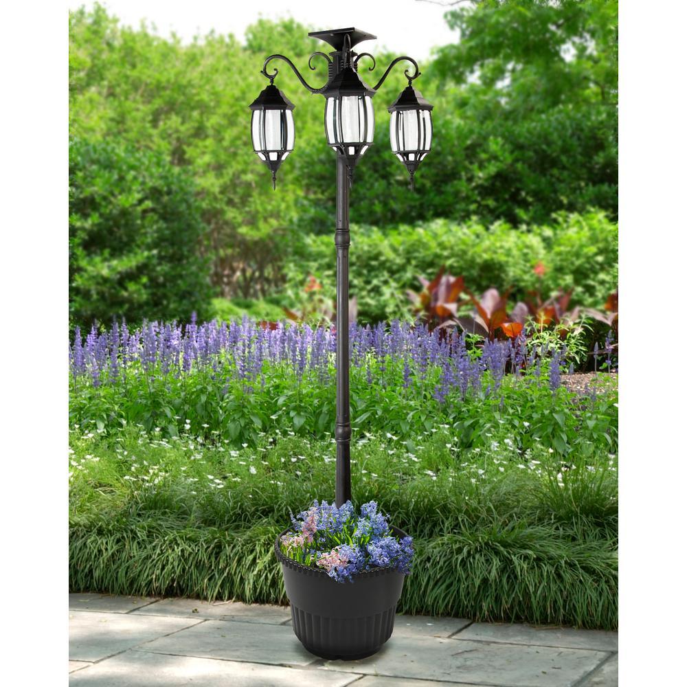 Sunray Madison 3 Light Black Integrated Led Solar Lamp