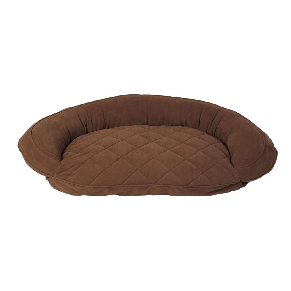 Carolina Pet Company X-Large Chocolate Microfiber Quilted Bolster Bed with Moister Protection The ultimate in comfort and luxury for your pet. The Microfiber Quilted Bolster Bed features a plush diamond-quilted fabric. The high loft recycled polyester fill keeps your furry friend healthy and happy by relieving pressure on hips and joints.