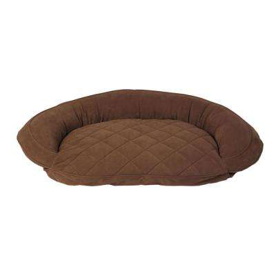 X-Large Chocolate Microfiber Quilted Bolster Bed with Moister Protection