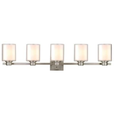 Oslo 44 in. W 5-Light Brushed Nickel Vanity Light