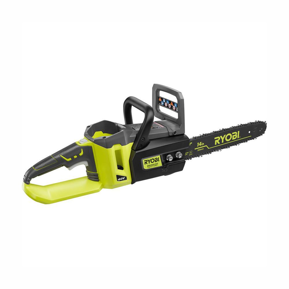 RYOBI 14 in. 40-Volt Brushless Lithium-Ion Cordless Battery Chainsaw (Tool Only)