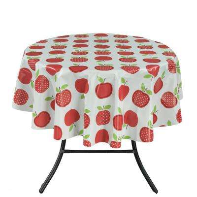 55 in. Round Indoor and Outdoor Cute Apple Design Tablecloth for Dining Table