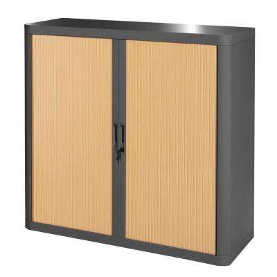Paperflow easyOffice Charcoal and Beech 41 in. Tall Storage Cabinet with 2-Shelves