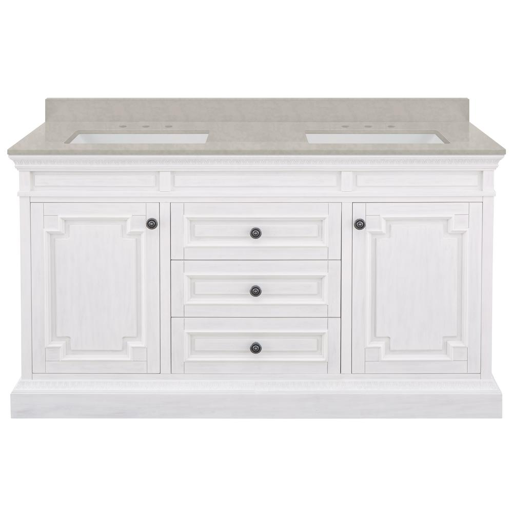 Home Decorators Collection Cailla 61 in. W x 22 in. D Bath Vanity in White with Engineered Marble Vanity Top in Dunescape with White Sinks
