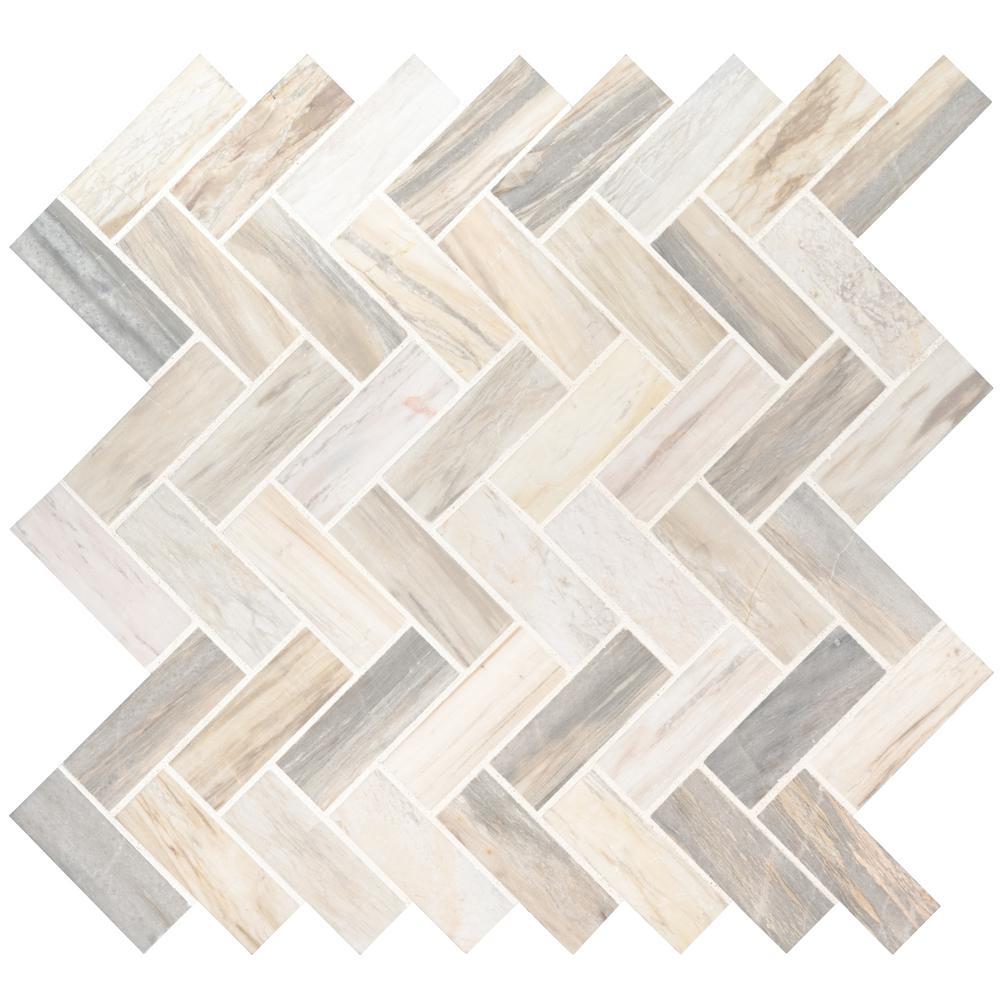 MSI Angora Herringbone 12 in. x 12 in. x 10mm Polished Marble Mesh-Mounted Mosaic Tile