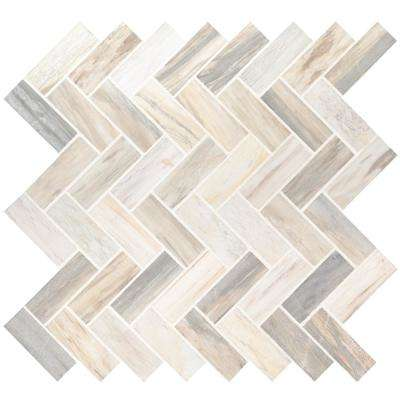 Angora Herringbone 12 in. x 12 in. x 10mm Polished Marble Mesh-Mounted Mosaic Tile (10 sq. ft. / case)