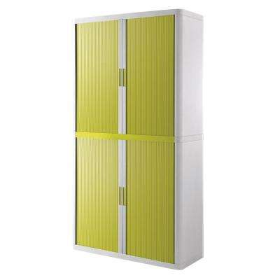 Paperflow easyOffice White and Green 80 in. Tall Storage Cabinet with 4-Shelves