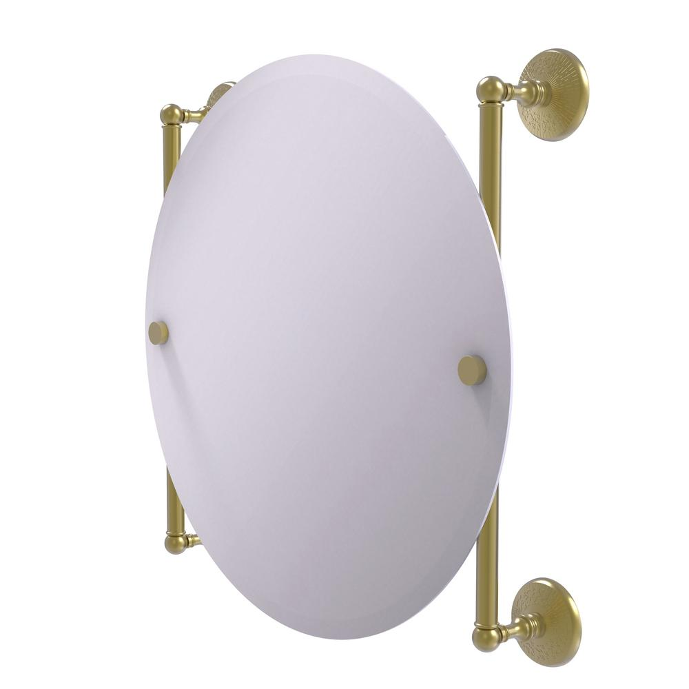 Allied Brass Monte Carlo Collection 22 in. x 22 in. Round Frameless Rail Mounted Mirror in Satin Brass