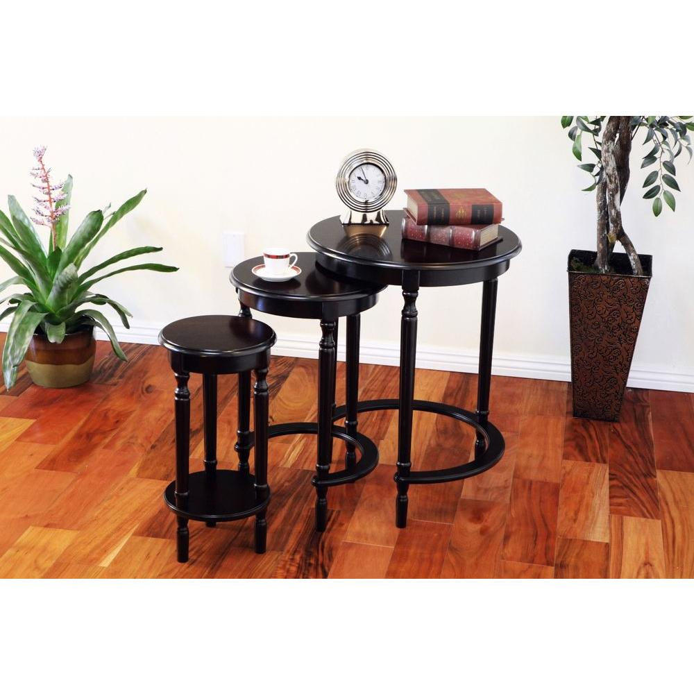 megahome cherry 3 piece nesting end table h 127 the home depot. Black Bedroom Furniture Sets. Home Design Ideas