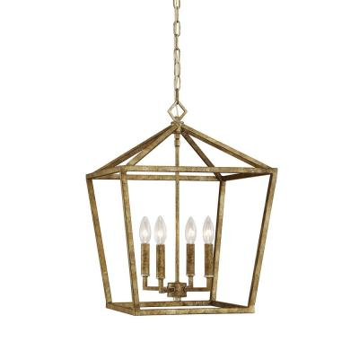 4-Light 16 in. Wide Vintage Gold Taper Candle Pendant