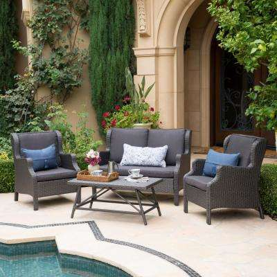 4-Piece Wicker Patio Conversation Set with Black Cushions