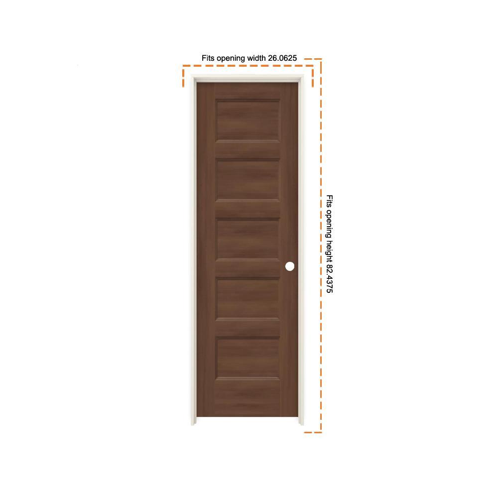 Jeld Wen 24 In X 80 In Conmore Milk Chocolate Stain Smooth Hollow Core Molded Composite Single Prehung Interior Door