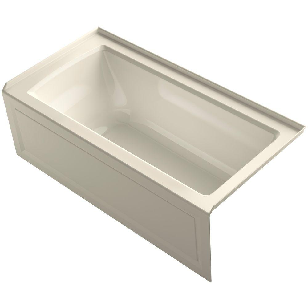 Archer 5 ft. Right Drain Soaking Tub in Almond