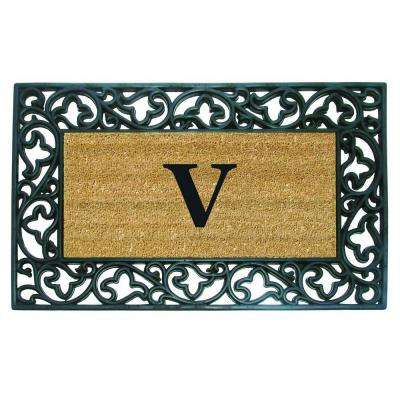 Acanthus Border 22 in. x 36 in. Rubber Coir Monogrammed V Door Mat