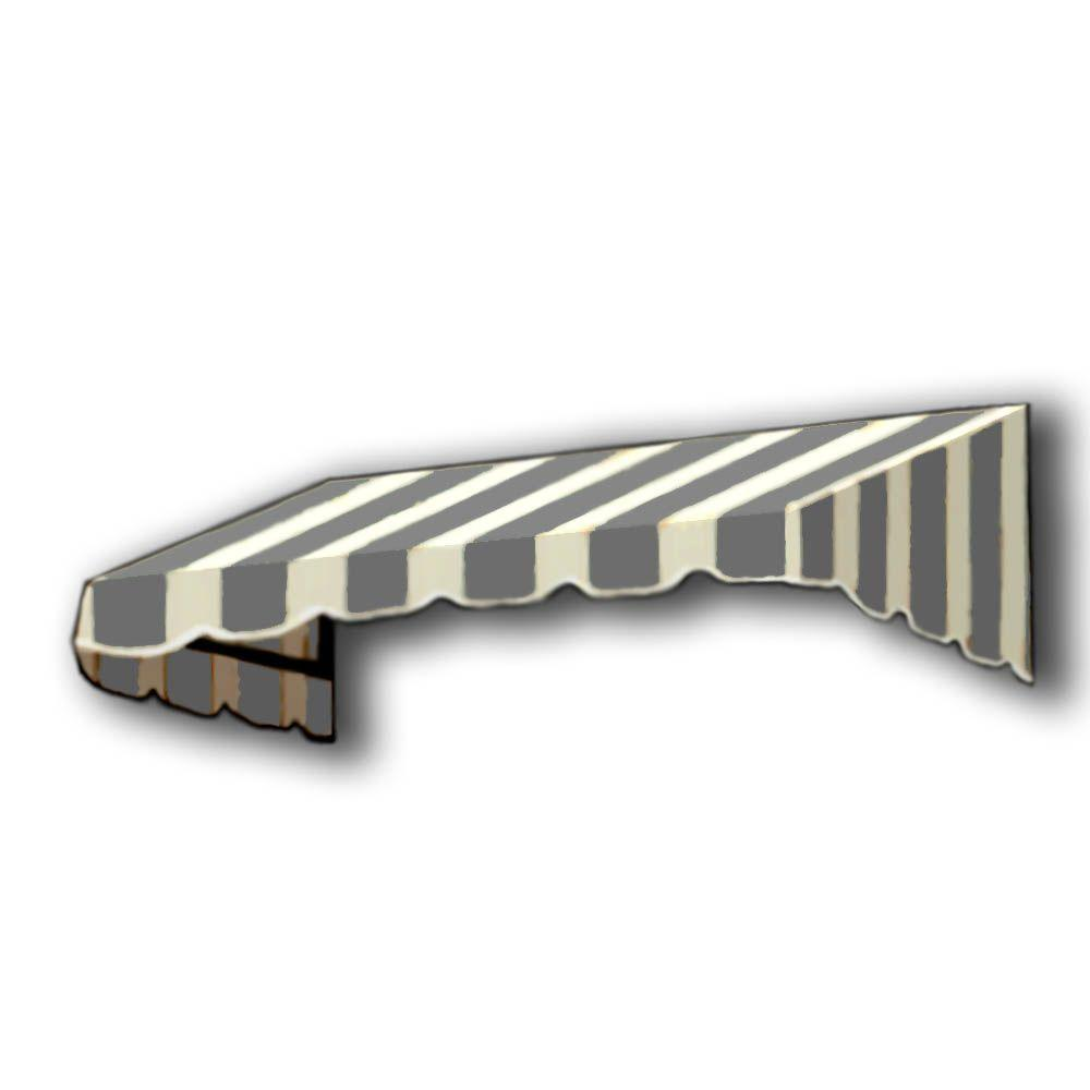 AWNTECH 25 ft. San Francisco Window/Entry Awning (24 in. H x 36 in. D) in Gray/White Stripe