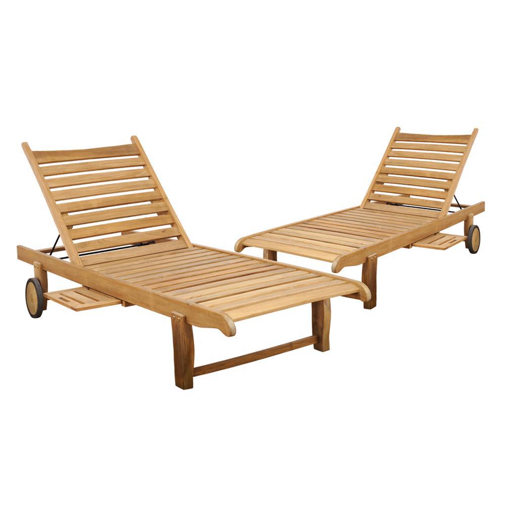 Cairo Adjustable Teak Outdoor Lounge Chair (2-Pack)
