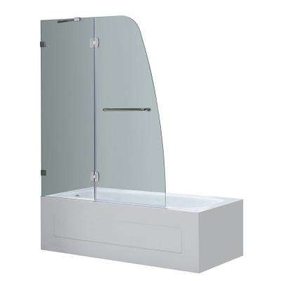 Soleil 48 in. x 58 in. Completely Frameless Hinged Tub Door in Chrome with Clear Glass