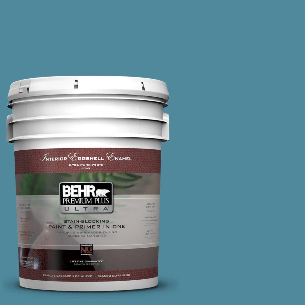 BEHR Premium Plus Ultra 5-gal. #S460-5 Blue Square Eggshell Enamel Interior Paint