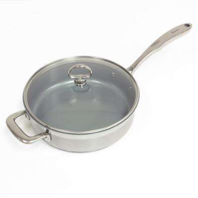 Induction 21 Steel 3 Qt. Ceramic Non-Stick Skillet with Glass Lid in Stainless Steel